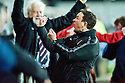 ROSS COUNTY MANAGER CELEBRATES TO THE FALKIRK FANS AFTER THE LATE EQUALISER