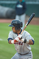 Ketel Marte (7) of the Tacoma Rainiers at bat against the Salt Lake Bees in Pacific Coast League action at Smith's Ballpark on May 7, 2015 in Salt Lake City, Utah.  (Stephen Smith/Four Seam Images)