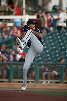 Carlos Guarate (8) of the Lake Elsinore Storm pitches against the Inland Empire 66ers  at San Manuel Stadium on June 15,<br /> 2021 in San Bernardino, California. (Larry Goren/Four Seam Images)