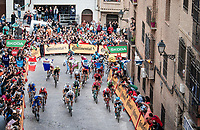 peloton trying to chase down Rémi Cavagna (FRA/Deceuninck - QuickStep) with 300m to go<br /> <br /> Stage 19: Ávila to Toledo (165km)<br /> La Vuelta 2019<br /> <br /> ©kramon