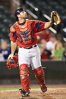 Pawtucket Red Sox catcher Dan Butler #33 during game four of a best of five playoff series against the Empire State Yankees at Frontier Field on September 8, 2012 in Rochester, New York.  Pawtucket defeated Empire State 7-1 to advance to the International League Finals.  (Mike Janes/Four Seam Images)