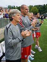 Pia Sundhage, Paul Rogers, staff. The USWNT defeated Japan, 2-0,  at WakeMed Soccer Park in Cary, NC.