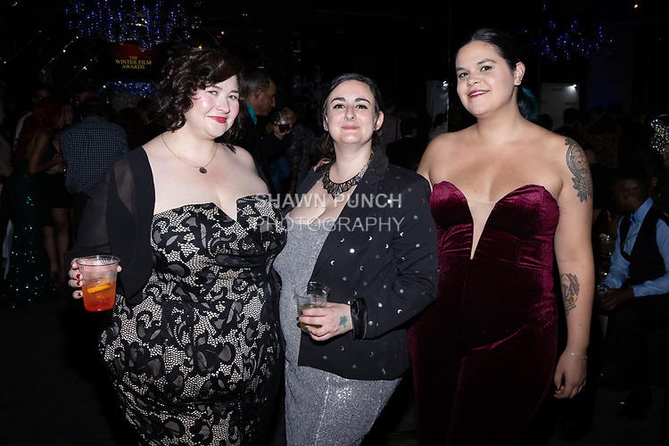 (Left to right) Katharine Scarborough, Elaine White and Alyssa Cartee attend the 10th Annual Winter Film Awards International Film Festival Gala on October 2, 2021 at 230 Fift Avenue in New York City.