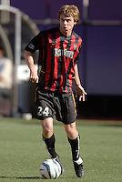 The MetroStars' Eddie Gaven. The LA Galaxy were defeated by the NY/NJ MetroStars 2 to 1 at Giant's Stadium, East Rutherford, NJ, on June 19, 2004.