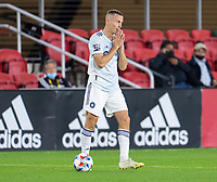 WASHINGTON, DC - MAY 13: Boris Sekulic #2 of Chicago Fire FC reacts to a missed shot on goal during a game between Chicago Fire FC and D.C. United at Audi FIeld on May 13, 2021 in Washington, DC.