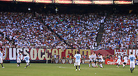 Argentina forward Lionel Messi (18) takes a free kick. The men's national teams of the United States and Argentina played to a 0-0 tie during an international friendly at Giants Stadium in East Rutherford, NJ, on June 8, 2008.