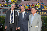 action photo during the match Brasil vs Ecuador, at Rose Bowl Stadium Copa America Centenario 2016. ---Foto  de accion durante el partido Brasil vs Ecuador, En el Estadio Rose Bowl, Partido Correspondiante al Grupo -B-  de la Copa America Centenario USA 2016, en la foto: Ted Howard, Weick Garcete, Antonio Nunez<br /> --- 04/06/2016/MEXSPORT/ David Leah.
