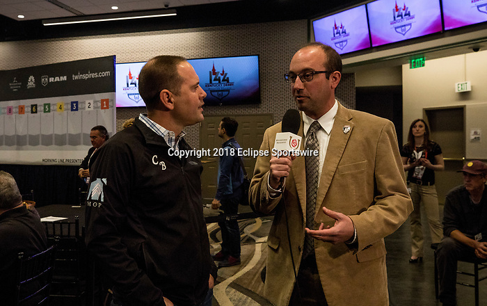 LOUISVILLE, KY - MAY 01: Ed DeRosa interviews Chad Brown for Twin Spires at the Post Position Draw for the Kentucky Derby at at Churchill Downs on May 1, 2018 in Louisville, Kentucky. (Photo by Alex Evers/Eclipse Sportswire/Getty Images)