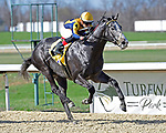 March 27, 2021: Outadore #4, ridden by jockey Gerardo Corrales, wins the Animal Kingdom Stakes on Jeff Ruby Steaks Stakes Day at Turfway Park in Florence, Kentucky. Jessica Morgan/Eclipse Sportswire/CSM