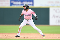 Hickory Crawdads Center Fielder Miguel Aparicio (5) takes a lead off second base during the game with the Charleston Riverdogs at L.P. Frans Stadium on May 12, 2019 in Hickory, North Carolina.  The Riverdogs defeated the Crawdads 13-5. (Tracy Proffitt/Four Seam Images)