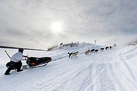 and into the Kaltag village checkpoint on Sunday afternoon March 11th during the 2018 Iditarod Sled Dog Race -- Alaska<br /> <br /> Photo by Jeff Schultz/SchultzPhoto.com  (C) 2018  ALL RIGHTS RESERVED