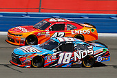 2017 NASCAR Xfinity Series<br /> Service King 300<br /> Auto Club Speedway, Fontana, CA USA<br /> Saturday 25 March 2017<br /> Kyle Busch, NOS Energy Drink Toyota Camry and Kyle Larson<br /> World Copyright: Russell LaBounty/LAT Images<br /> ref: Digital Image 17FON1rl_4241