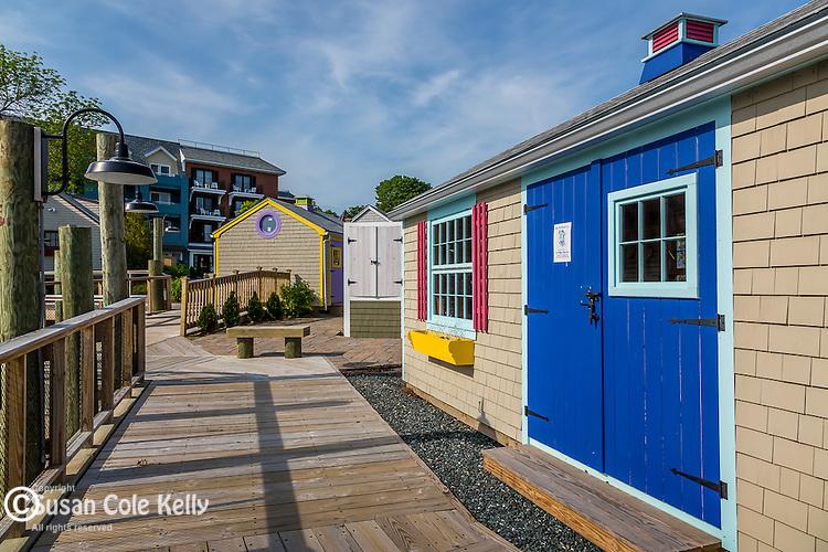 Shops on the Harborside boardwalk in Bar Harbor, Maine, USA