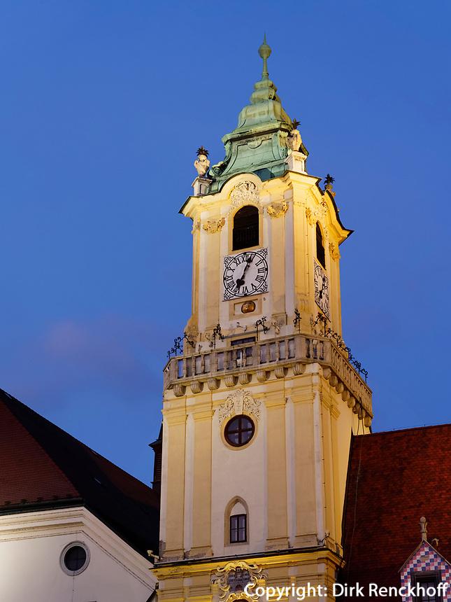 Turm altes Rathaus, Hauptplatz Hlavne nam., Bratislava, Bratislavsky kraj, Slowakei, Europa<br /> Tower old townhall, Bratislava, Bratislavsky kraj, Slovakia, Europe