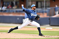 Asheville Tourists pitcher Frederis Parra (31) delivers a pitch during game one of a double header against the West Virginia Power at McCormick Field on April 20, 2019 in Asheville, North Carolina. The Tourists defeated the Power 12-7. (Tony Farlow/Four Seam Images)