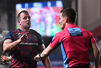 5th February 2021; Ashton Gate Stadium, Bristol, England; Premiership Rugby Union, Bristol Bears versus Sale Sharks; Bryan Byrne of Bristol Bears tries to convince Referee Luke Pearce that he's scored a try from a rolling maul