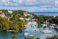 Castries, St. Lucia.  Small Boat Harbor.  Martinique in the Distance.