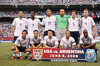 USA starting eleven. The men's national teams of the United States and Argentina played to a 0-0 tie during an international friendly at Giants Stadium in East Rutherford, NJ, on June 8, 2008.