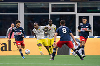 FOXBOROUGH, MA - MAY 16: Darlington Nagbe #6 Columbus SC kicks the ball away from near the Columbus SC goal during a game between Columbus SC and New England Revolution at Gillette Stadium on May 16, 2021 in Foxborough, Massachusetts.