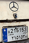 July 2010, LEBANON:  A battered Mercedes Benz displays its number plate in Downtown Beirut.   Picture by Graham Crouch