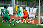Kerry's Ryan Kelliher efford just wide of the mark as the Galway keeper Conor Brann closes down his angle of opportunity in the U19 League of Ireland soccer game.
