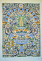 Ceramics, Sidi Bou Said, Tunisia.  Nabeul Wall Panel Showing Fountain and Flowers.
