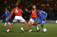 Kwame Poku of Colchester United and Mathieu Baudry of Swindon Town during Colchester United vs Swindon Town, Sky Bet EFL League 2 Football at the JobServe Community Stadium on 28th January 2020
