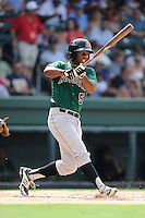Center fielder Chris Lofton (5) of the Augusta GreenJackets bats in a game against the Greenville Drive on Sunday, July 13, 2014, at Fluor Field at the West End in Greenville, South Carolina. Greenville won, 8-5. (Tom Priddy/Four Seam Images)