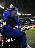 7 December 2008: Buffalo Bills' mascot Billy the Buffalo kneels on the sidelines during the first regular season NFL game ever played in Canada. The Miami Dolphins defeated the Bills 16-3 at the Rogers Centre in Toronto, Ontario. ..Mandatory Photo Credit: Ed Wolfstein Photo