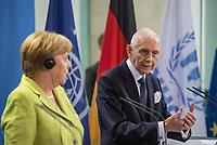 Gemeinsame Presseunterrichtung nach dem Gespraech von Bundeskanzlerin Merkel mit dem Hohen Fluechtlingskommissar der Vereinten Nationen (UNHCR), Filippo Grandi, und dem Generaldirektor der Internationalen Organisation fuer Migration (IOM), William Lacy Swing (rechts) am Freitag den 11. August 2017 im Bundeskanzleramt.<br /> 11.8.2017, Berlin<br /> Copyright: Christian-Ditsch.de<br /> [Inhaltsveraendernde Manipulation des Fotos nur nach ausdruecklicher Genehmigung des Fotografen. Vereinbarungen ueber Abtretung von Persoenlichkeitsrechten/Model Release der abgebildeten Person/Personen liegen nicht vor. NO MODEL RELEASE! Nur fuer Redaktionelle Zwecke. Don't publish without copyright Christian-Ditsch.de, Veroeffentlichung nur mit Fotografennennung, sowie gegen Honorar, MwSt. und Beleg. Konto: I N G - D i B a, IBAN DE58500105175400192269, BIC INGDDEFFXXX, Kontakt: post@christian-ditsch.de<br /> Bei der Bearbeitung der Dateiinformationen darf die Urheberkennzeichnung in den EXIF- und  IPTC-Daten nicht entfernt werden, diese sind in digitalen Medien nach §95c UrhG rechtlich geschuetzt. Der Urhebervermerk wird gemaess §13 UrhG verlangt.]