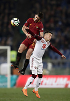 Calcio, Serie A: AS Roma - Torino Roma, stadio Olimpico, 9 marzo, 2018.<br /> Roma's Alessandro Florenzi (l) in action with Torino's Alejandro Berenguer (r) during the Italian Serie A football match between AS Roma and Torino at Rome's Olympic stadium, 9 marzo, 2018.<br /> UPDATE IMAGES PRESS/Isabella Bonotto