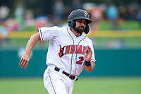 Indianapolis Indians catcher Christian Kelley (26) rounds third base during an International League game against the Columbus Clippers on April 30, 2019 at Victory Field in Indianapolis, Indiana. Columbus defeated Indianapolis 7-6. (Zachary Lucy/Four Seam Images)