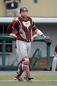 Florida State Seminoles catcher Danny De La Calle (13) during a game against the South Florida Bulls on March 5, 2014 at Red McEwen Field in Tampa, Florida.  Florida State defeated South Florida 4-1.  (Copyright Mike Janes Photography)