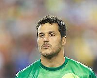 Brazil goalkeeper Julio Cesar (12). In an international friendly, Brazil (yellow/blue) defeated Portugal (red), 3-1, at Gillette Stadium on September 10, 2013.