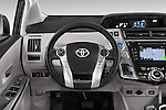Car pictures of steering wheel view of a 2015 Toyota Prius V Four 5 Door MPV