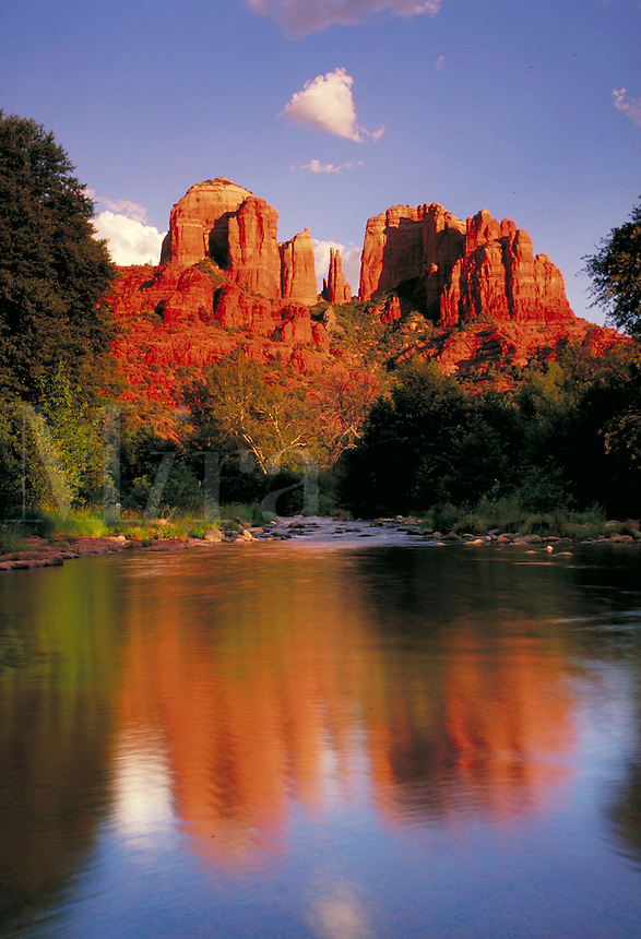 Cathedral rock from Red Rock Crossing reflections on water Sedona AZ. Sedona Arizona United States desert southwest.