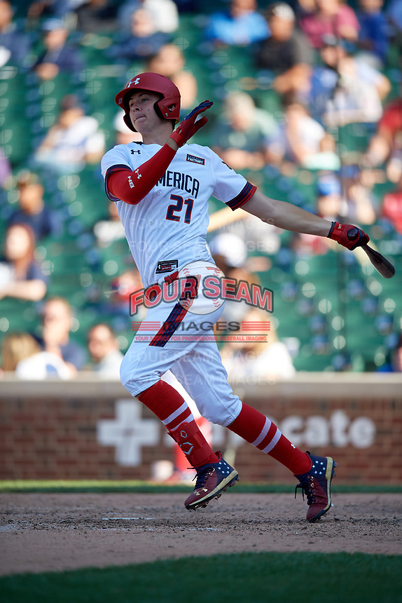 Daniel Susac (21) during the Under Armour All-America Game, powered by Baseball Factory, on July 22, 2019 at Wrigley Field in Chicago, Illinois.  Daniel Susac attends Jesuit Sacramento High School in Carmichael, California and is committed to the University of Arizona.  (Mike Janes/Four Seam Images)