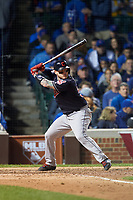Cleveland Indians Roberto Perez (55) bats in the eighth inning during Game 4 of the Major League Baseball World Series against the Chicago Cubs on October 29, 2016 at Wrigley Field in Chicago, Illinois.  (Mike Janes/Four Seam Images)