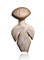Ancient Greek Cycladic figurine, Kilia type ('stargazer'). Kilia, Gallipoli, Turkey, Circa 4360-3500 BC. Museum of Cycladic Art Athens,  Against white.