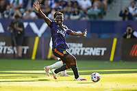 CARSON, CA - JUNE 19: Yeimar Gomez Andrade #28 of the Seattle Sounders FC moves to the ball during a game between Seattle Sounders FC and Los Angeles Galaxy at Dignity Health Sports Park on June 19, 2021 in Carson, California.