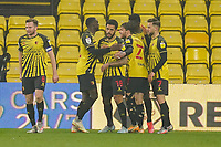 Andre Gray of Watford (18) celebrates after he scores his second goal during the Sky Bet Championship behind closed doors match between Watford and Wycombe Wanderers at Vicarage Road, Watford, England on 3 March 2021. Photo by David Horn.