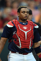 Memphis Redbirds catcher Audry Perez (40) watches a fly ball during a game against the Oklahoma City RedHawks on May 23, 2014 at AutoZone Park in Memphis, Tennessee.  Oklahoma City defeated Memphis 12-10.  (Mike Janes/Four Seam Images)
