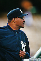 New York Yankees coach Chris Chambliss before a game against the Los Angeles Dodgers circa 1999 at Dodger Stadium in Los Angeles, California. (Larry Goren/Four Seam Images)