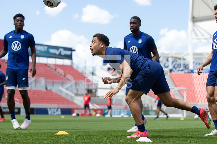 SANDY, UT - JUNE 8: Sergino Dest heads the ball during a training session at Rio Tinto Stadium on June 8, 2021 in Sandy, Utah.