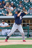Reid Brignac (16) of the Lehigh Valley IronPigs at bat against the Charlotte Knights at BB&T Ballpark on May 8, 2014 in Charlotte, North Carolina.  The IronPigs defeated the Knights 8-6.  (Brian Westerholt/Four Seam Images)