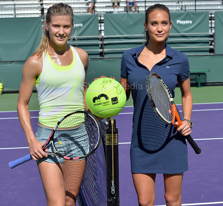 KEY BISCAYNE, FL - APRIL 03: Genie Bouchard of Canada and Sports Illustrated cover model Hannah Davis hit a few balls during day 12 of the Miami Open at Crandon Park Tennis Center on April 3, 2015 in Key Biscayne, Florida.<br /> <br /> <br /> People:  Genie Bouchard, Hannah Davis<br /> <br /> Transmission Ref:  FLXX<br /> <br /> Must call if interested<br /> Michael Storms<br /> Storms Media Group Inc.<br /> 305-632-3400 - Cell<br /> 305-513-5783 - Fax<br /> MikeStorm@aol.com