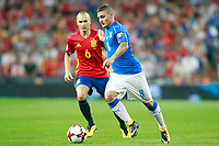 Spain's Andres Iniesta (l) and Italy's Marco Verratti during FIFA World Cup 2018 Qualifying Round match. September 2,2017.(ALTERPHOTOS/Acero)