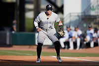 Hudson Valley Renegades first baseman Andres Chaparro (22) on defense against the Winston-Salem Dash at Truist Stadium on August 28, 2021 in Winston-Salem, North Carolina. (Brian Westerholt/Four Seam Images)