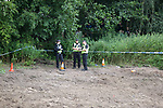 16.08.2020 Livingston v Rangers: Police have taped off the hill overlooking Almondvale Stadium to prevent fans seeing into the ground