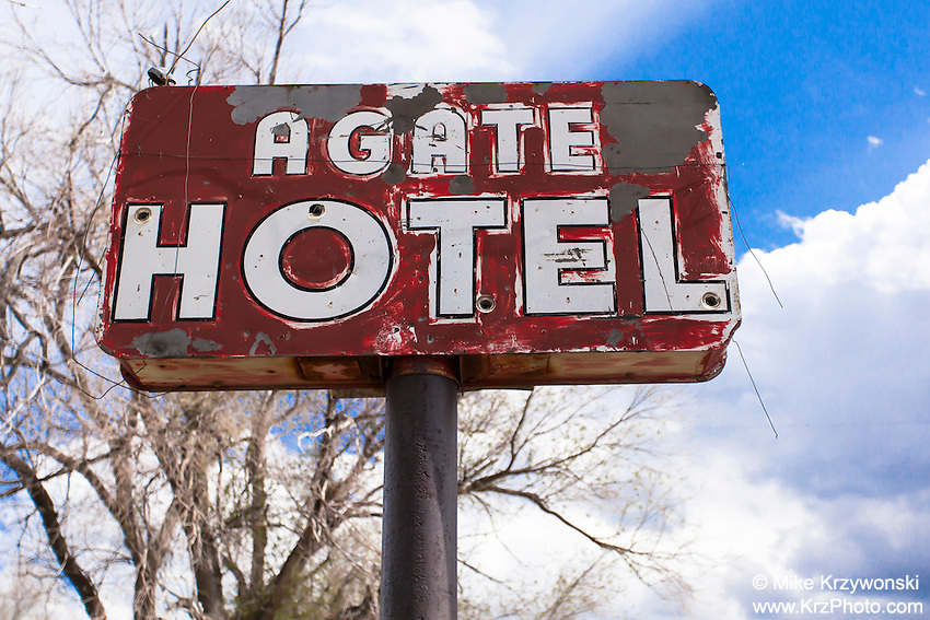 Old Agate Hotel sign in Agate, CO